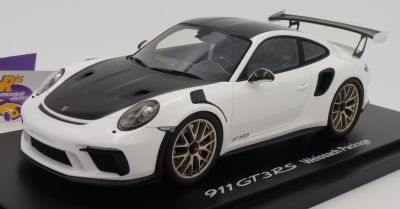 Модель автомобиля Porsche 911 GT3 RS (991 II) Weissach Package, Scale 1:18, White/Black