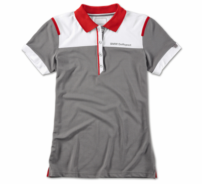 Женская рубашка-поло BMW Golfsport Polo Shirt, Ladies, Grey/White/Red