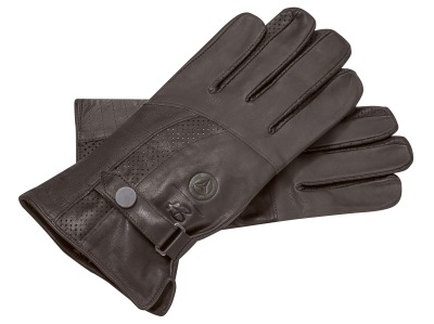 Кожаные перчатки Mercedes Leather Gloves, Dark Brown, Heinz Bauer Manufacture