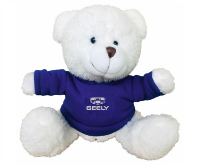 Плюшевый медведь Geely Plush Toy Bear, White/Blue
