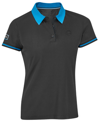 Женская рубашка-поло Mercedes Women's Polo Shirt, EQ Collection, Black/Blue
